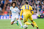 Marcelo Vieira Da Silva of Real Madrid (L) fights for the ball with Douglas Costa of Juventus (R) in action during the UEFA Champions League 2017-18 quarter-finals (2nd leg) match between Real Madrid and Juventus at Estadio Santiago Bernabeu on 11 April 2018 in Madrid, Spain. Photo by Diego Souto / Power Sport Images