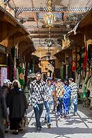 Fes, Morocco.  Street Scene in Fes El-Bali (Old City).