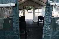 Campinas (SP), 18/03/2020 - CODIV-19/UNICAMP - O Hospital de Clínicas (HC) da Unicamp, em Campinas (SP), tem dois pacientes adultos com suspeita do novo coronavírus internados na Unidade de Terapia Intensiva (UTI) e uma criança na enfermaria. A unidade médica confirmou a informação na manhã desta quarta-feira (18) e detalhou o plano de contingência estabelecido para tentar conter a pandemia de Covid-19. O pacote de medidas prevê a disponibilização de tendas do Exército para atender pacientes com sintomas da doença.