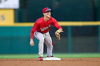 Worcester Red Sox second baseman Grant Williams (22) waits for a throw during a game against the Rochester Red Wings on September 3, 2021 at Frontier Field in Rochester, New York.  (Mike Janes/Four Seam Images)
