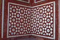 Agra, India.  Inlaid Geometric Stonework Design in  Entrance to Itimad-ud-Daulah.
