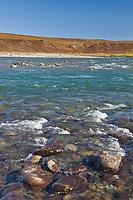 Sagavanirktok river flows north out of the Brooks Range mountains, Arctic, Alaska.