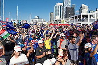 17th March 2021; Waitemata Harbour, Auckland, New Zealand;  General view of fans and spectators on Te Wero Island watching the big screen on Day 7 of the 36th America's Cup, America's Cup Village, Auckland, New Zealand on Wednesday 17th March 2021.