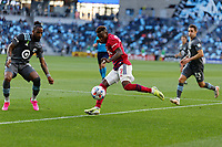 SAINT PAUL, MN - MAY 15: Jader Obrian #7 of FC Dallas kicks the ball during a game between FC Dallas and Minnesota United FC at Allianz Field on May 15, 2021 in Saint Paul, Minnesota.
