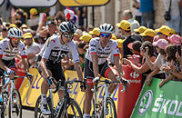 Chris Froome (GBR/Team Sky) finishin with some time loss after being involved in a crash. <br /> <br /> Stage 1: Noirmoutier-en-l'Île > Fontenay-le-Comte (189km)<br /> <br /> Le Grand Départ 2018<br /> 105th Tour de France 2018<br /> ©kramon