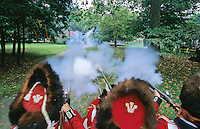 Revolutionary War Reenactors. Battle at the Chew House, Pennsylvania