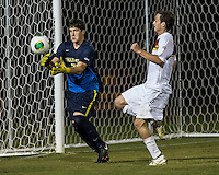 The Winthrop University Eagles played the College of Charleston Cougars at Eagles Field in Rock Hill, SC.  College of Charleston broke the 1-1 tie with a goal in the 88th minute to win 2-1.  Alex Young (28), Mason Lavallet (9)