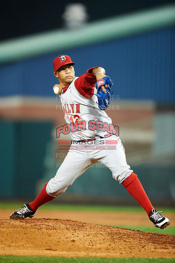 Brooklyn Cyclones pitcher Hansel Robles #12 during the NY-Penn League All-Star Game at Eastwood Field on August 14, 2012 in Niles, Ohio.  National League defeated the American League 8-1.  (Mike Janes/Four Seam Images)