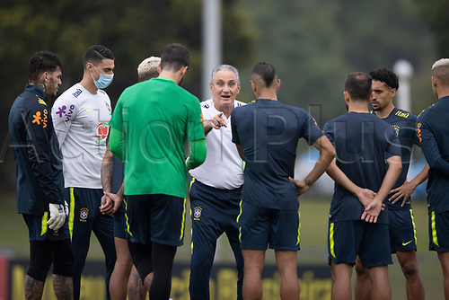 11th November 2020; Granja Comary, Teresopolis, Rio de Janeiro, Brazil; Qatar 2022 qualifiers; Tite, manager of Brazil speaks to his squad during training session in Granja Comary