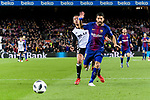 Luis Suarez of FC Barcelona (R) fights for the ball with Ruben Miguel Nunes of Valencia CF (L) during the Copa Del Rey 2017-18 match between FC Barcelona and Valencia CF at Camp Nou Stadium on 01 February 2018 in Barcelona, Spain. Photo by Vicens Gimenez / Power Sport Images