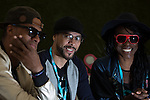 © Joel Goodman - 07973 332324 . 07/06/2015 . Manchester , UK . Dynamite MC ( Dominic Smith ) , Roni Size and Onallee backstage at The Parklife 2015 music festival in Heaton Park , Manchester . Photo credit : Joel Goodman