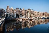 Netherlands,  Amsterdam, de Jordaan<br /> <br /> Singel gracht. in winterlight.<br /> <br /> Photo Kees Metselaar