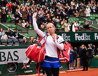 Paris, France, 03 June, 2016, Tennis, Roland Garros, Semifinal women, Kiki Bertens (NED) gets emoticonal after here match against Serena Williams (USA)<br />