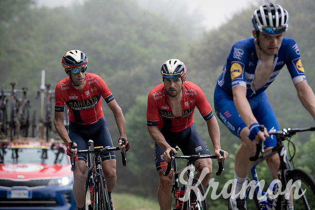 Vincenzo Nibali (ITA/Bahrain-Merida) not waisting any energy today as he is coming up way behind the race leaders & in the company of the team's sprinter Sonny Colbrelli (ITA/Bahrain-Merida) up the very steep section (+16%) of the Mur de Péguère (Cat1/1375m/9.3km/7.9%)<br /> <br /> Stage 15: Limoux to Foix(185km)<br /> 106th Tour de France 2019 (2.UWT)<br /> <br /> ©kramon