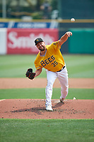 Salt Lake Bees starting pitcher Brian Johnson (35) throws to the plate during the game against the Las Vegas Aviators at Smith's Ballpark on July 25, 2021 in Salt Lake City, Utah. The Aviators defeated the Bees 10-6. (Stephen Smith/Four Seam Images)