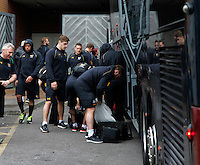 Photo: Richard Lane/Richard Lane Photography. Wasps Captains Run ahead of their game against Saracens in the European Champions Cup Semi Final at the Madejski Stadium. 22/04/2016. Team arrival.