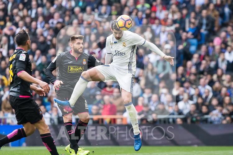 Alvaro Morata of Real Madrid shoot for scoring a goal during the match of La Liga between Real Madrid and RCE Espanyol at Santiago Bernabeu  Stadium  in Madrid , Spain. February 18, 2016. (ALTERPHOTOS/Rodrigo Jimenez)
