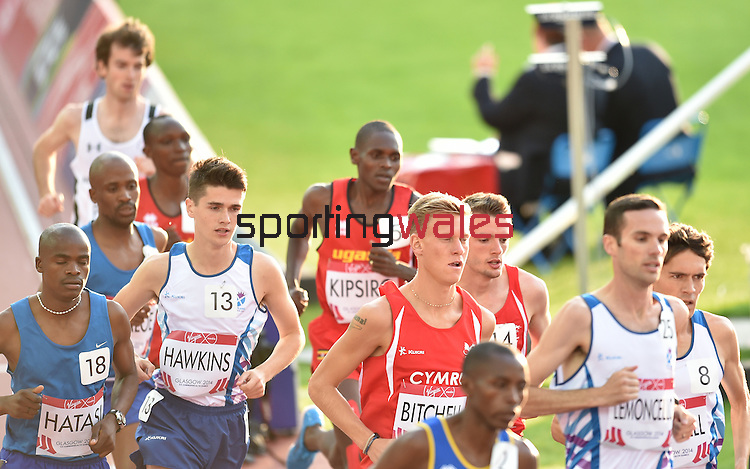 Wales' Adam Bitchell, left, and Wales' Dewi Griffiths run in the 10,000m final<br /> <br /> Photographer Chris Vaughan/Sportingwales<br /> <br /> 20th Commonwealth Games - Day 9 - Friday 1st August 2014 - Athletics - Hampden Park - Glasgow - UK