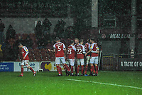 Fleetwood Town celebrate going 1-0 up from Fleetwood Town's forward Ched Evans (9) penalty during the Sky Bet League 1 match between Fleetwood Town and Burton Albion at Highbury Stadium, Fleetwood, England on 15 December 2018. Photo by Stephen Buckley / PRiME Media Images.