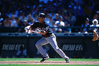 SEATTLE, WA - Roberto Alomar of the Cleveland Indians in action during a game against the Seattle Mariners at Safeco Field in Seattle, Washington in 2001. Photo by Brad Mangin