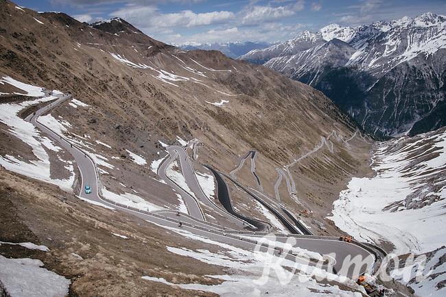 this years Cima Coppi: the famous Passo dello Stelvio (alt: 2758m)<br /> <br /> Stage 16: Rovett › Bormio (222km)<br /> 100th Giro d'Italia 2017