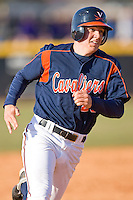 Danny Hultzen #23 of the Virginia Cavaliers hustles towards third base versus the East Carolina Pirates at Clark-LeClair Stadium on February 19, 2010 in Greenville, North Carolina.   Photo by Brian Westerholt / Four Seam Images