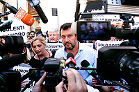 The Italian leader of the Lega party Matteo Salvini making statements to the press during demonstration of labour consultants against the Government in Montecitorio Square. Rome (Italy), July 29th 2020<br /> Photo Samantha Zucchi Insidefoto