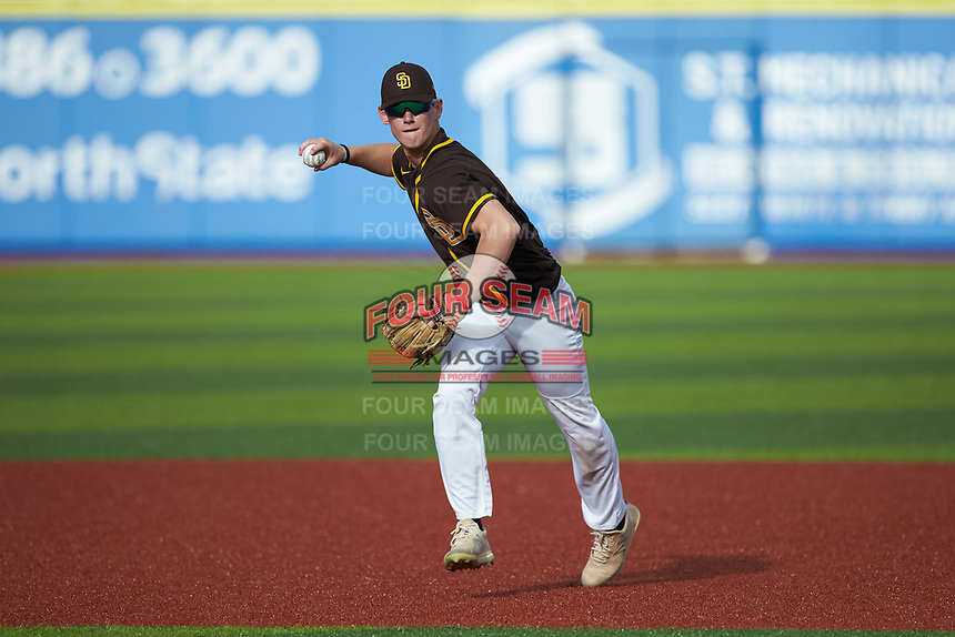 Joe Jaconski (11) of Plymouth Whitemarsh High School (PA) playing for the San Diego Padres scout team takes ground balls during infield practice prior to game three of the South Atlantic Border Battle at Truist Point on September 26, 2020 in High Pont, NC. (Brian Westerholt/Four Seam Images)