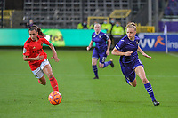 xxx and Anderlecht forward Sarah Wijnants (11) pictured during a female soccer game between RSC Anderlecht Dames and Portugese Benfica Ladies  in the second qualifying round for the Uefa Womens Champions League of the 2020 - 2021 season , Wednesday 18 th of November 2020  in ANDERLECHT , Belgium . PHOTO SPORTPIX.BE | SPP | STIJN AUDOOREN