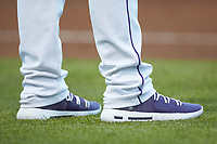 A close-up of the Under Armour HOVR shoes worn by Winston-Salem Dash manager Justin Jirschele (9) as he coaches third base during the game against the Wilmington Blue Rocks at BB&T Ballpark on April 16, 2019 in Winston-Salem, North Carolina. The Blue Rocks defeated the Dash 4-3. (Brian Westerholt/Four Seam Images)