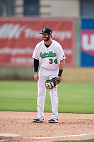 Clinton LumberKings first baseman Nick Zammarelli (34) during a game against the Lansing Lugnuts on May 9, 2017 at Ashford University Field in Clinton, Iowa.  Lansing defeated Clinton 11-6.  (Mike Janes/Four Seam Images)