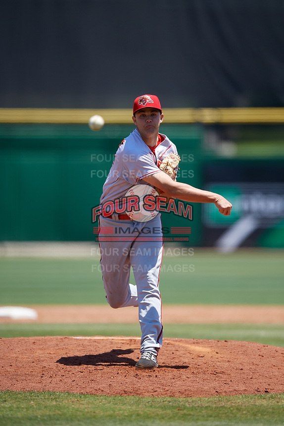 Florida Fire Frogs starting pitcher Keith Weisenberg (24) during a Florida State League game against the Clearwater Threshers on April 24, 2019 at Spectrum Field in Clearwater, Florida.  Clearwater defeated Florida 13-1.  (Mike Janes/Four Seam Images)
