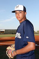 Devin Williams #45 of the AZL Brewers before a game against the AZL Padres at the Texas Rangers Spring Training Complex on July 12, 2013 in Surprise, Arizona. AZL Brewers defeated the AZL Padres, 5-3. (Larry Goren/Four Seam Images)