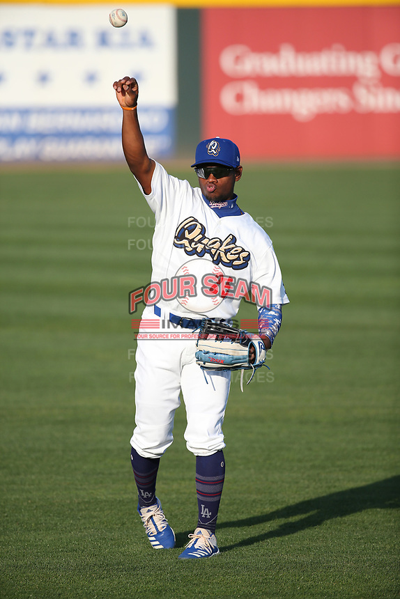 Aldrich de Jongh (25) of the Rancho Cucamonga Quakes throws before a game against the Modesto Nuts at LoanMart Field on May 12, 2021 in Rancho Cucamonga, California. (Larry Goren/Four Seam Images)