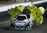 Oct. 26, 2012; Las Vegas, NV, USA: NHRA funny car driver Mike Neff during qualifying for the Big O Tires Nationals at The Strip in Las Vegas. Mandatory Credit: Mark J. Rebilas-