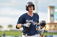 Lakeland Flying Tigers Jimmy Kerr (8) jogs to the dugout after hitting a home run during a game against the Dunedin Blue Jays on June 8, 2021 at Joker Marchant Stadium in Lakeland, Florida.  (Mike Janes/Four Seam Images)