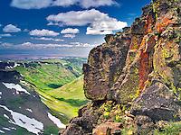Lichen covered wall and L:ittle Blitzen Gorge. Steens Mountain Wilderness, Oregon
