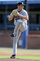 Rome Braves starting pitcher Patrick Scoggin #23 delivers a pitch during game one of a double header against the Asheville Tourists at McCormick Field on June 4, 2013 in Asheville, North Carolina. The Braves won the game 5-3. (Tony Farlow/Four Seam Images)
