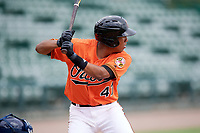 Baltimore Orioles shortstop Milton Ramos (47) at bat during an Instructional League game against the Tampa Bay Rays on October 2, 2017 at Ed Smith Stadium in Sarasota, Florida.  (Mike Janes/Four Seam Images)