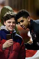 Lincoln City's Tyreece John-Jules poses for a selfie during the pre-match warm-up<br /> <br /> Photographer Chris Vaughan/CameraSport<br /> <br /> The EFL Sky Bet League One - Lincoln City v Milton Keynes Dons - Tuesday 11th February 2020 - LNER Stadium - Lincoln<br /> <br /> World Copyright © 2020 CameraSport. All rights reserved. 43 Linden Ave. Countesthorpe. Leicester. England. LE8 5PG - Tel: +44 (0) 116 277 4147 - admin@camerasport.com - www.camerasport.com