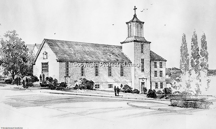 Pittsburgh PA:  View of a rendering for the new Haven Heights Methodist Church in the Mt Washington section of Pittsburgh at Virginia Avenue and Bingham Road.