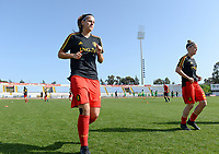 20180307 - LARNACA , CYPRUS :  Belgian Laura De Neve and Laura Deloose (right) pictured during a women's soccer game between  South Africa and the Belgian Red Flames  , on Wednesday 7 March 2018 at the GSZ Stadium in Larnaca , Cyprus . This is the final game in a decision for 5th or 6th place for Belgium during the Cyprus Womens Cup , a prestigious women soccer tournament as a preparation on the World Cup 2019 qualification duels. PHOTO SPORTPIX.BE | DAVID CATRY