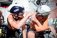 Annemiek van Vleuten (NED/Movistar) & Ellen van Dijk (NED/Trek-Segafredo) post-finish<br /> <br /> Mixed Relay TTT <br /> Team Time Trial from Knokke-Heist to Bruges (44.5km)<br /> <br /> UCI Road World Championships - Flanders Belgium 2021<br /> <br /> ©kramon