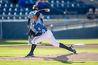 West Michigan Whitecaps pitcher Keider Montero (12) delivers a pitch to the plate against the Great Lakes Loons at LMCU Ballpark on May 11, 2021 in Comstock Park, Michigan. (Andrew Woolley/Four Seam Images)