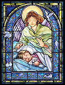 Randy, HOLY FAMILIES, HEILIGE FAMILIE, SAGRADA FAMÍLIA, paintings+++++SG-Guardian-Angel-and-Girl-V,USRW163,#xr# ,church window, stained glass