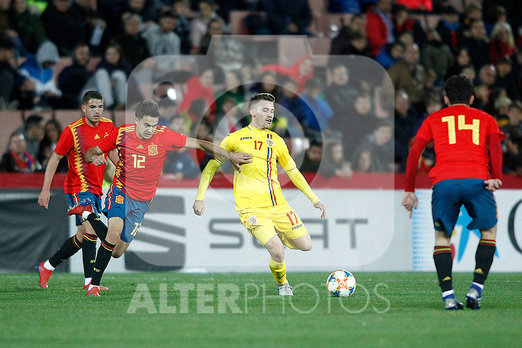 (L-R) Spain's Sergio Reguilon , Spain's Carles Ale?a and Romania's Olaru Darius  during the International Friendly match on 21th March, 2019 in Granada, Spain. (ALTERPHOTOS/Alconada)