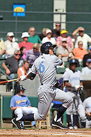 Wilmington Blue Rocks outfielder Lane Adams #6 at bat during a game against the Myrtle Beach Pelicans at Ticketreturn.com Field at Pelicans Ballpark on April 7, 2013 in Myrtle Beach, South Carolina. Wilmington defeated Myrtle Beach 7-2. (Robert Gurganus/Four Seam Images)