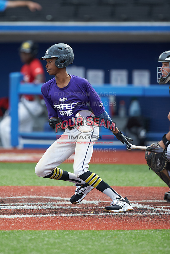 Marlon Baggett (14) of Westlake High School in Portsmouth, VA during the Atlantic Coast Prospect Showcase hosted by Perfect Game at Truist Point on August 22, 2020 in High Point, NC. (Brian Westerholt/Four Seam Images)