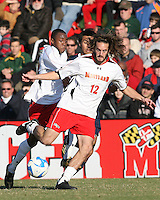 Drew Yates #12 and Rodney Wallace #22 of the University of Maryland during an NCAA championship round of sixteen soccer match against the University of California at Ludwig Field, on November 29, 2008 in College Park, Maryland. The match was won by Maryland 2-1