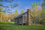 Great Smoky Mts. National Park, TN/NC<br /> Log farm house at the Jim Bales place on the Roaring Fork Motor trail